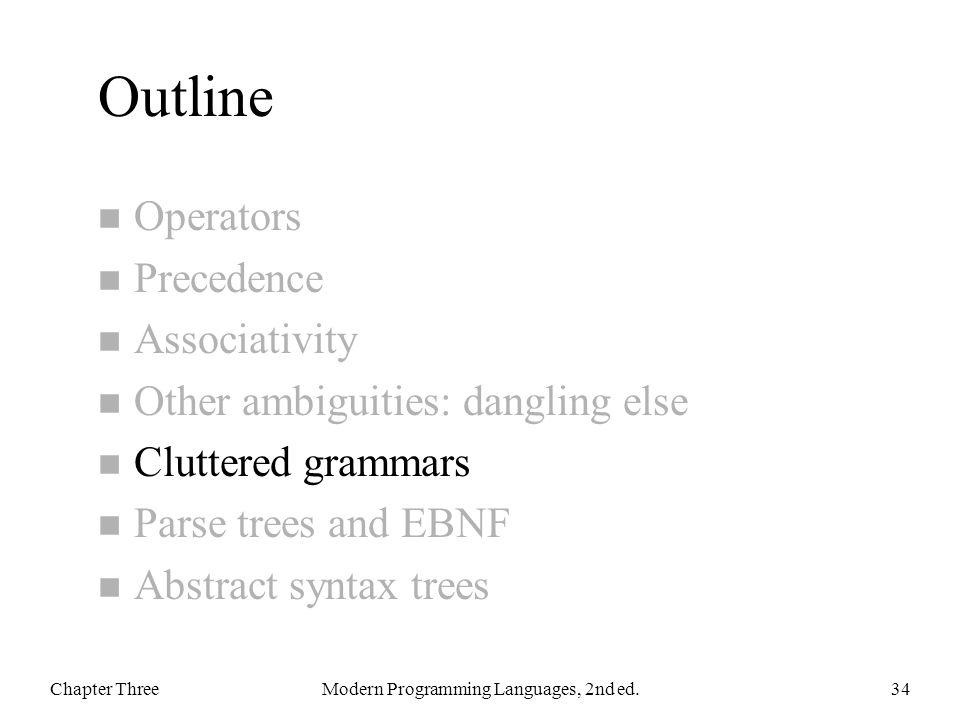Outline n Operators n Precedence n Associativity n Other ambiguities: dangling else n Cluttered grammars n Parse trees and EBNF n Abstract syntax tree
