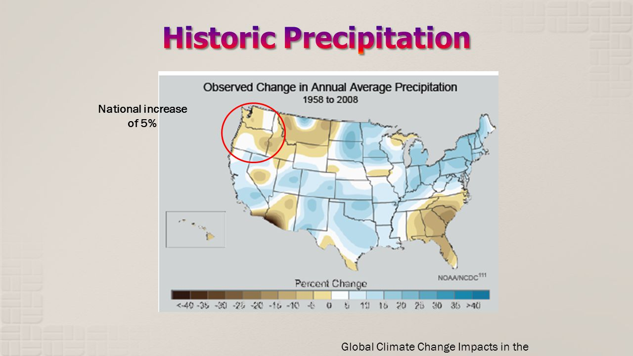 Global Climate Change Impacts in the U.S. National increase of 5%