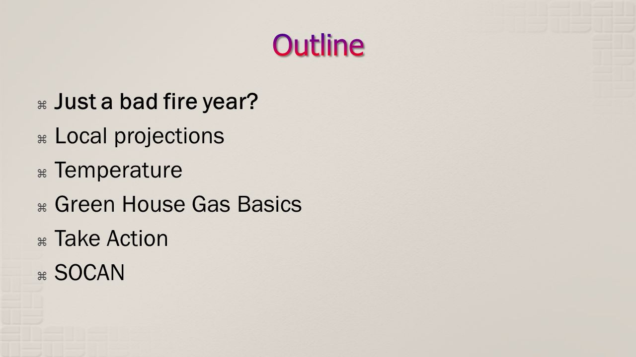 Just a bad fire year? Local projections Temperature Green House Gas Basics Take Action SOCAN