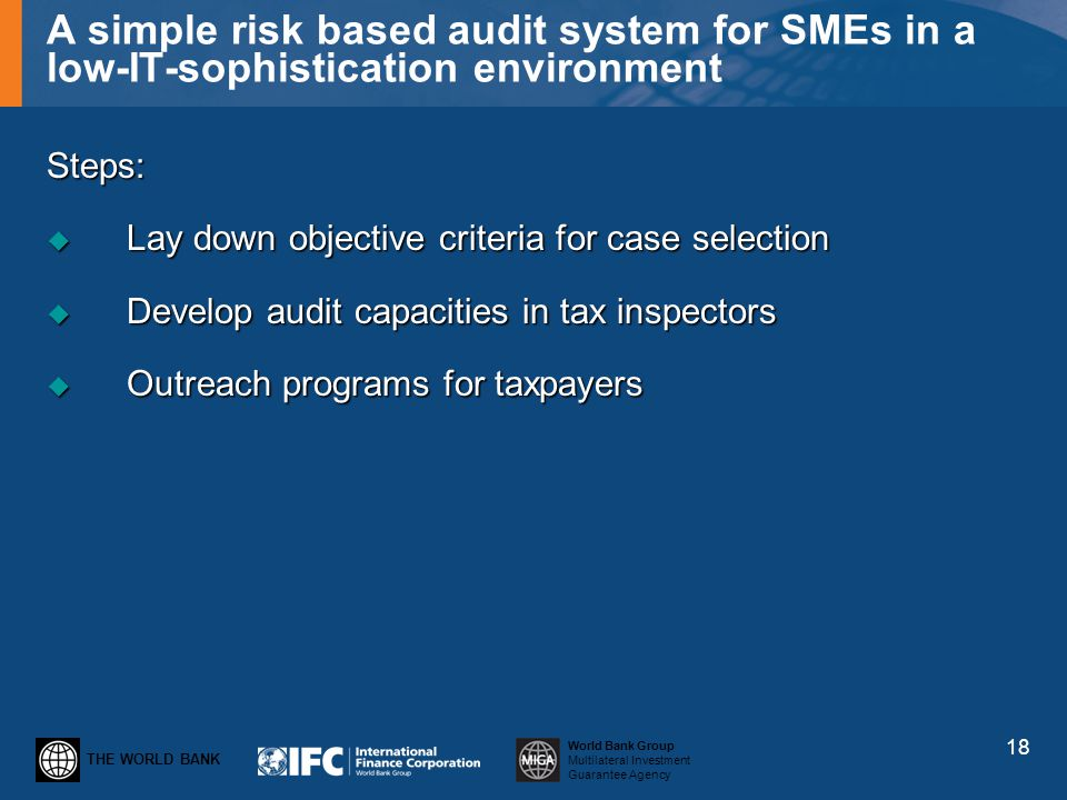 THE WORLD BANK World Bank Group Multilateral Investment Guarantee Agency A simple risk based audit system for SMEs in a low-IT-sophistication environm