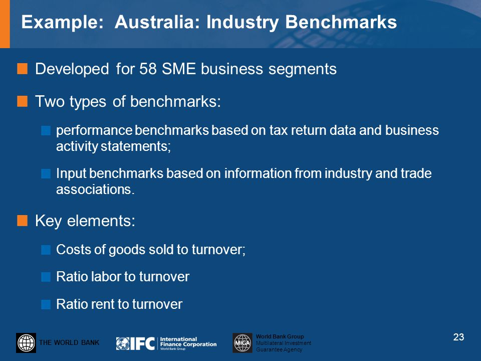 THE WORLD BANK World Bank Group Multilateral Investment Guarantee Agency Example: Australia: Industry Benchmarks Developed for 58 SME business segment