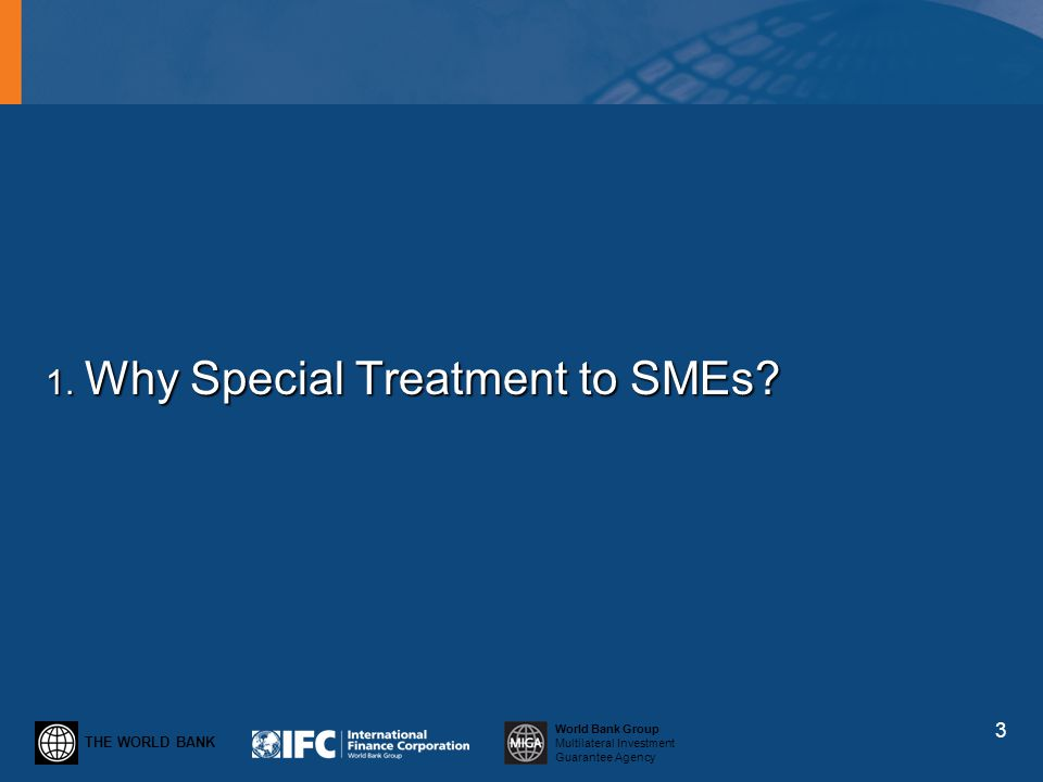 THE WORLD BANK World Bank Group Multilateral Investment Guarantee Agency 1. Why Special Treatment to SMEs? 3