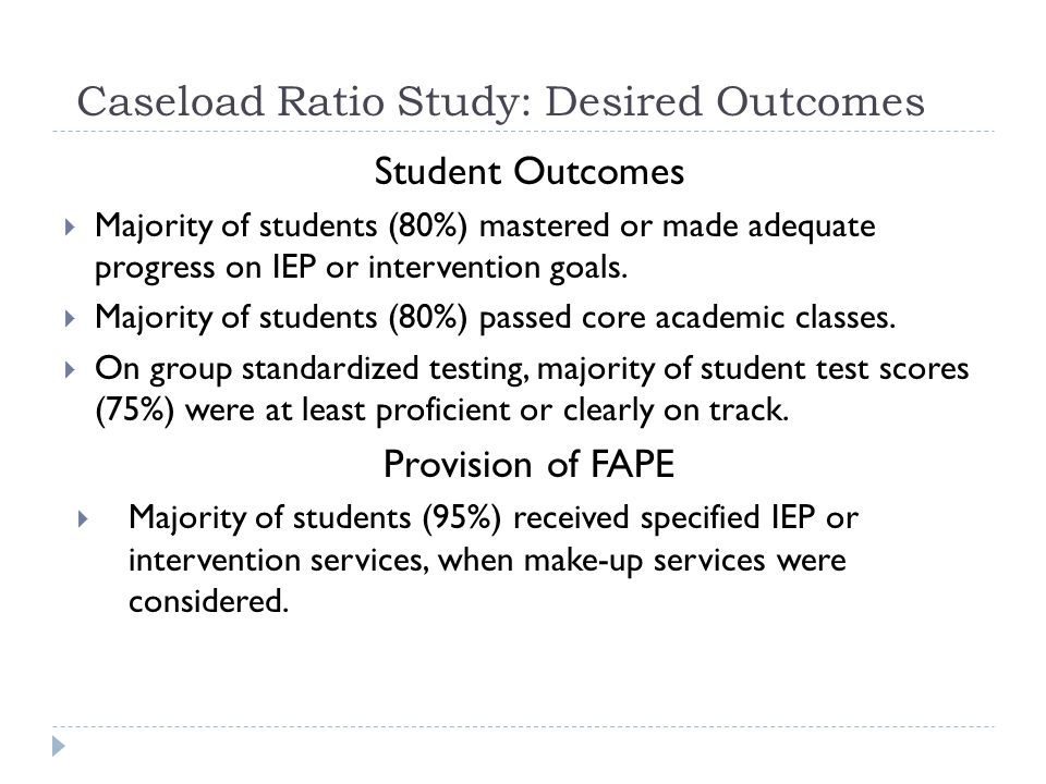 Caseload Ratio Study: Desired Outcomes Student Outcomes Majority of students (80%) mastered or made adequate progress on IEP or intervention goals.