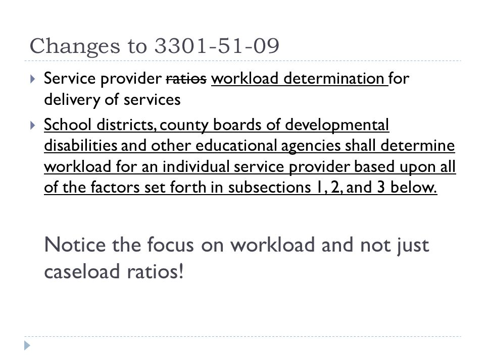 Service provider ratios workload determination for delivery of services School districts, county boards of developmental disabilities and other educational agencies shall determine workload for an individual service provider based upon all of the factors set forth in subsections 1, 2, and 3 below.