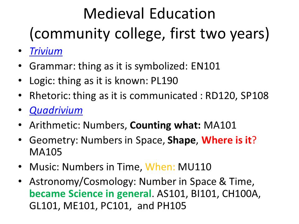 Medieval Education (community college, first two years) Trivium Grammar: thing as it is symbolized: EN101 Logic: thing as it is known: PL190 Rhetoric: