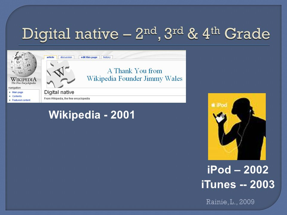 Wikipedia - 2001 iPod – 2002 iTunes -- 2003 Rainie, L., 2009