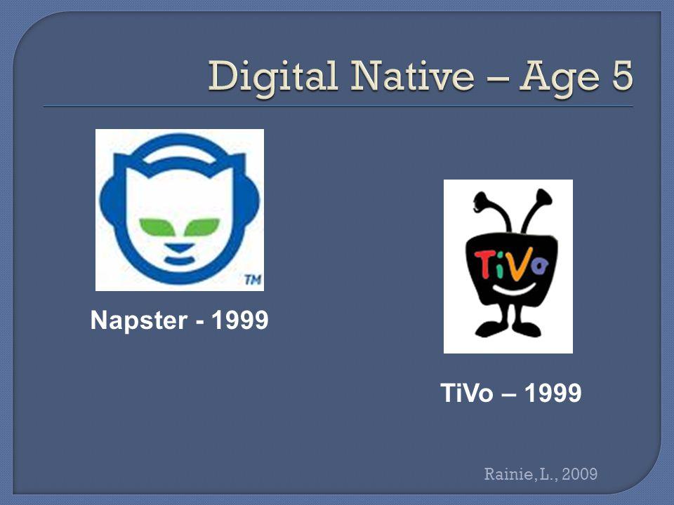 Wikipedia - 2001 iPod – 2002 iTunes -- 2003 Rainie, L., 2009