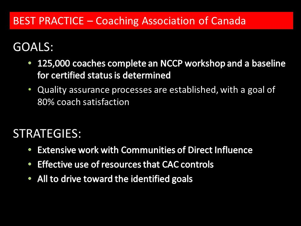 BEST PRACTICE – Coaching Association of Canada