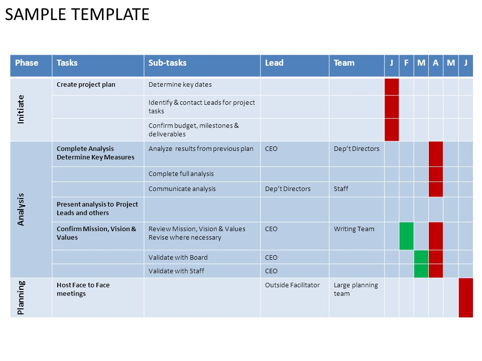 SAMPLE TEMPLATE PhaseTasksSub-tasksLeadTeamJFMAMJ Initiate Create project planDetermine key dates Identify & contact Leads for project tasks Confirm budget, milestones & deliverables Analysis Complete Analysis Determine Key Measures Analyze results from previous planCEODept Directors Complete full analysis Communicate analysisDept DirectorsStaff Present analysis to Project Leads and others Confirm Mission, Vision & Values Review Mission, Vision & Values Revise where necessary CEOWriting Team Validate with BoardCEO Validate with StaffCEO Planning Host Face to Face meetings Outside FacilitatorLarge planning team