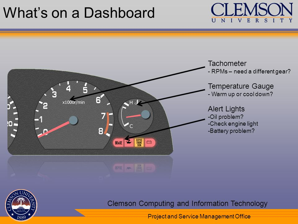 Your Department Name Here Clemson Computing and Information Technology Project and Service Management Office Tachometer - RPMs – need a different gear.