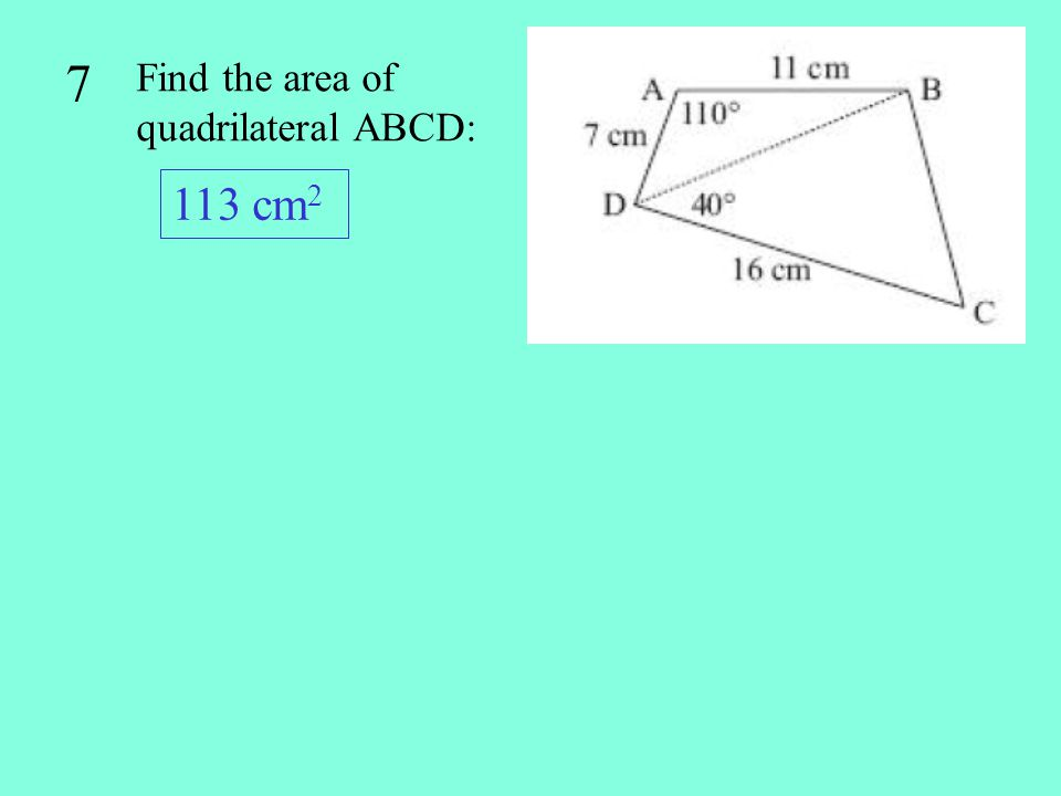 18 In triangle ABC, find the length of c given that b = 45 m, A = 56 and B = 72 c = 37.3 m