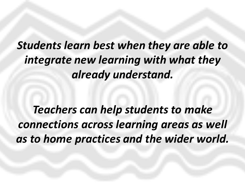 Students learn best when they are able to integrate new learning with what they already understand. Teachers can help students to make connections acr