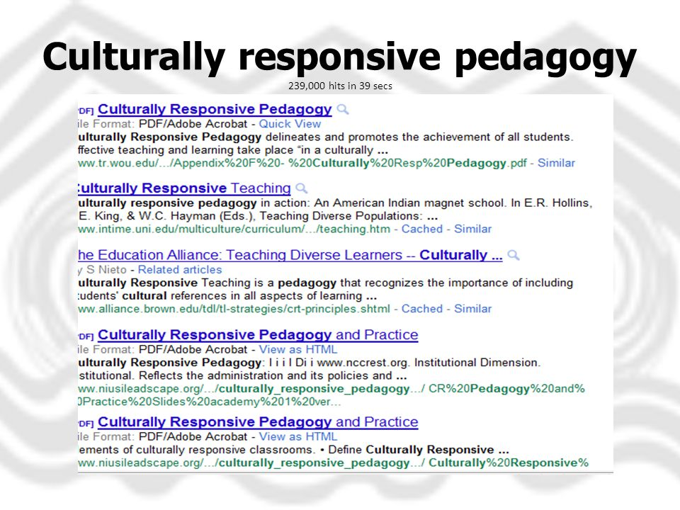 Culturally responsive pedagogy 239,000 hits in 39 secs