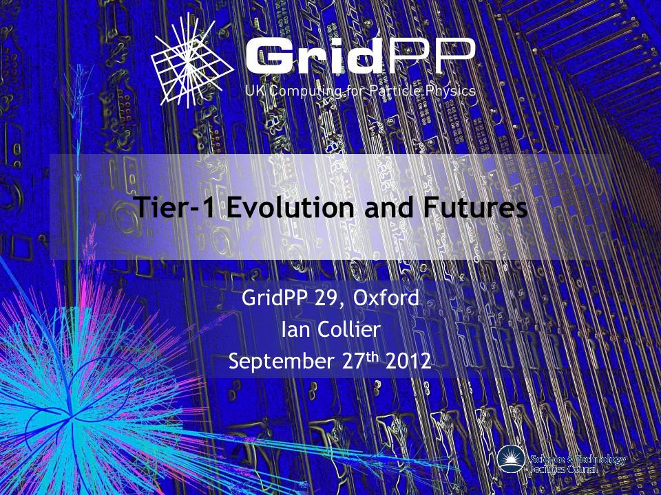 Tier-1 Evolution and Futures GridPP 29, Oxford Ian Collier September 27 th 2012