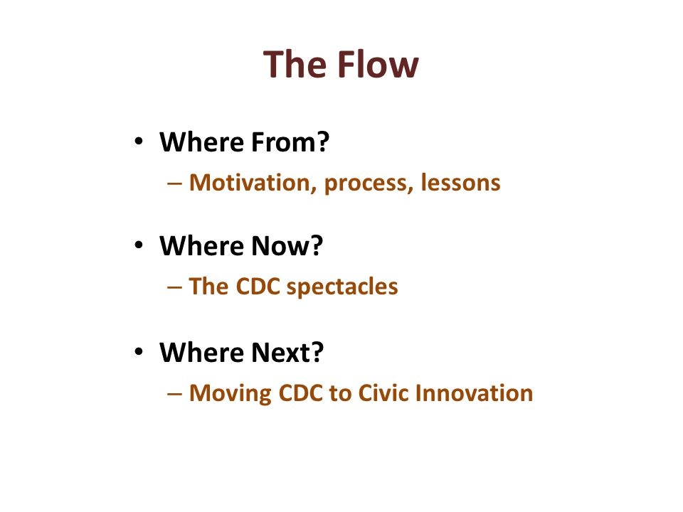 The Flow Where From. – Motivation, process, lessons Where Now.