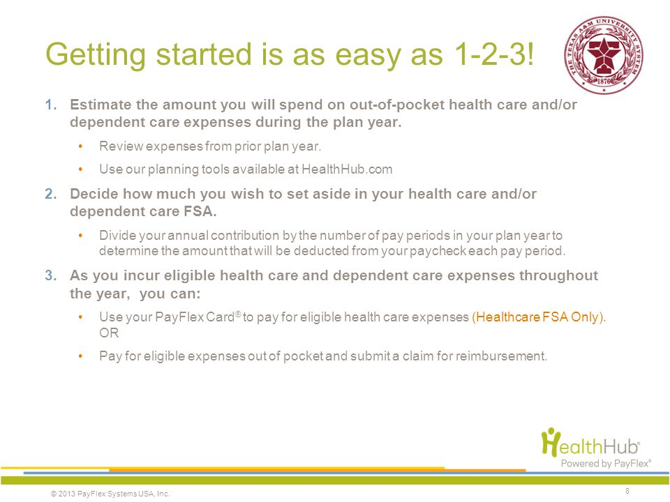 © 2013 PayFlex Systems USA, Inc. Getting started is as easy as 1-2-3! 1.Estimate the amount you will spend on out-of-pocket health care and/or depende