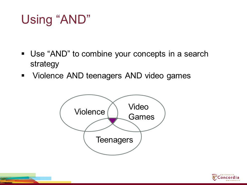 Using AND Use AND to combine your concepts in a search strategy Violence AND teenagers AND video games Violence Video Games Teenagers