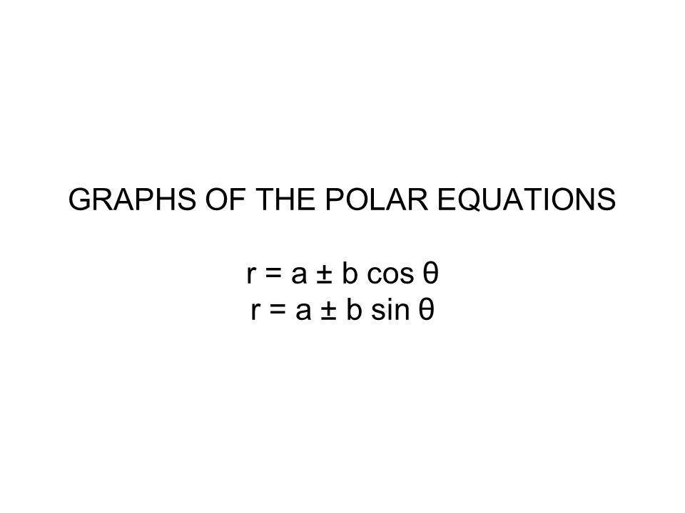 GRAPHS OF THE POLAR EQUATIONS r = a ± b cos θ r = a ± b sin θ