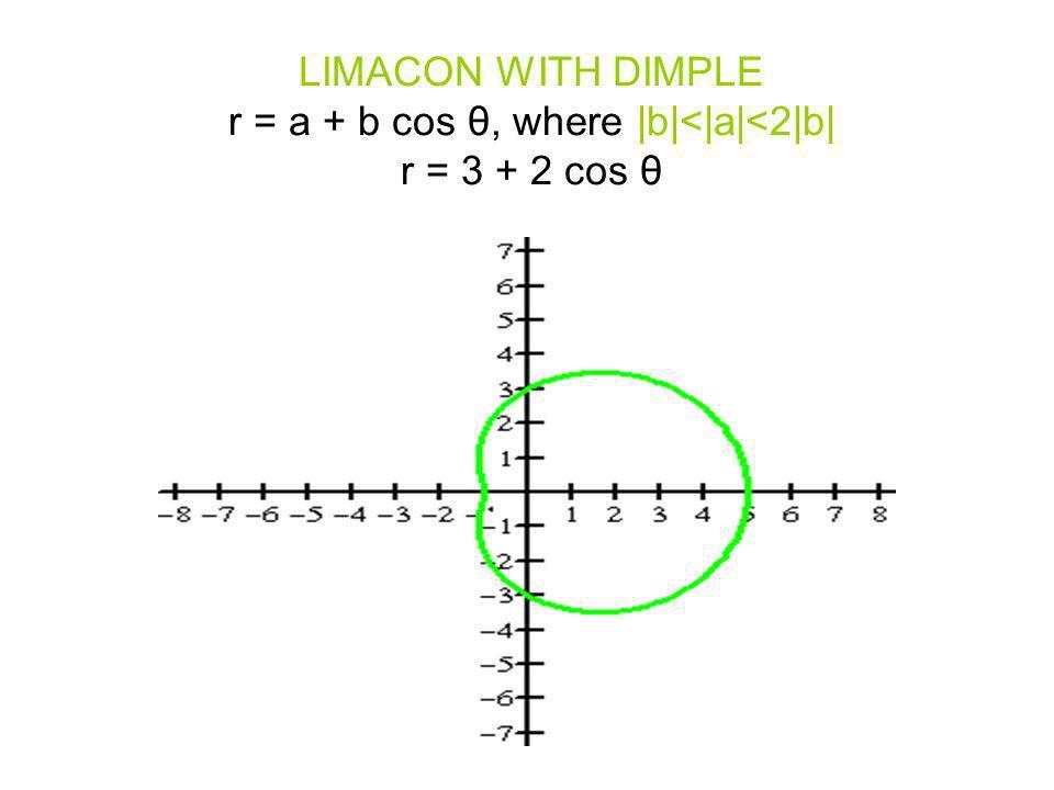 LIMACON WITH DIMPLE r = a + b cos θ, where  b < a <2 b  r = 3 + 2 cos θ