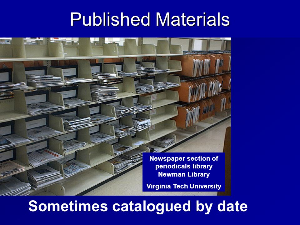 Sometimes catalogued by date Newspaper section of periodicals library Newman Library Virginia Tech University Published Materials