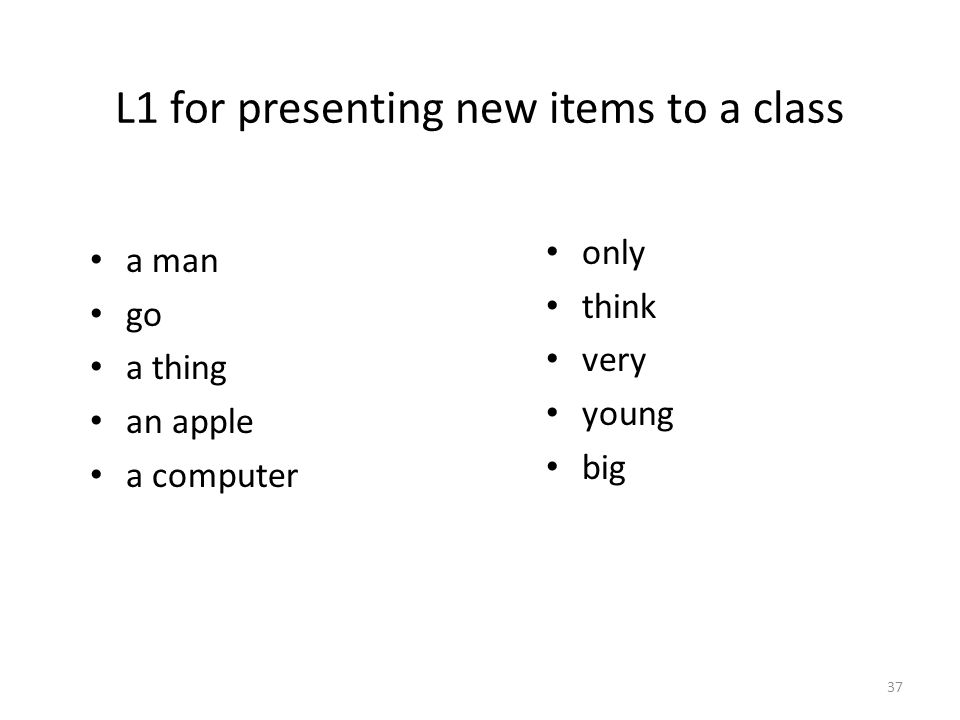 L1 for presenting new items to a class a man go a thing an apple a computer only think very young big 37