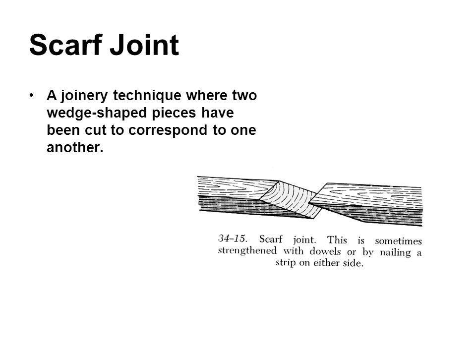 Scarf Joint A joinery technique where two wedge-shaped pieces have been cut to correspond to one another.