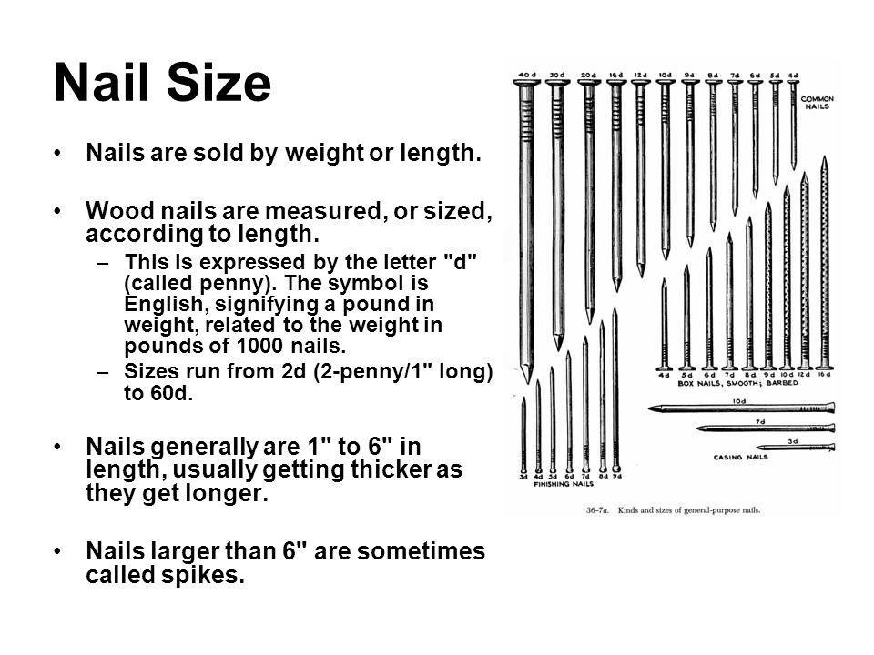 Nail Size Nails are sold by weight or length. Wood nails are measured, or sized, according to length. –This is expressed by the letter