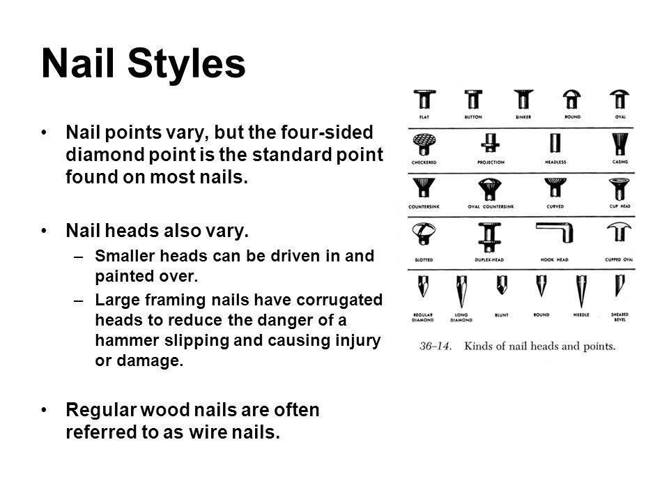 Nail Styles Nail points vary, but the four-sided diamond point is the standard point found on most nails. Nail heads also vary. –Smaller heads can be