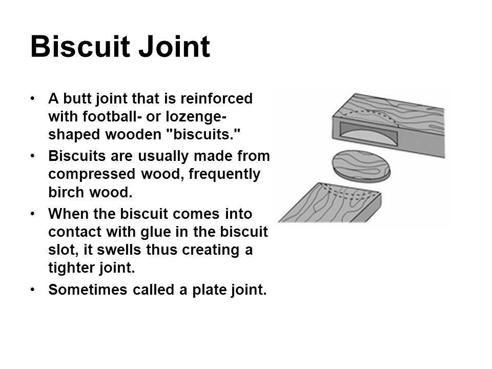 Biscuit Joint A butt joint that is reinforced with football- or lozenge- shaped wooden