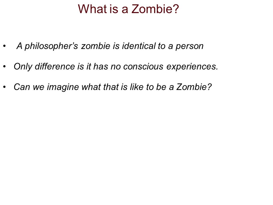 What is a Zombie? A philosophers zombie is identical to a person Only difference is it has no conscious experiences. Can we imagine what that is like