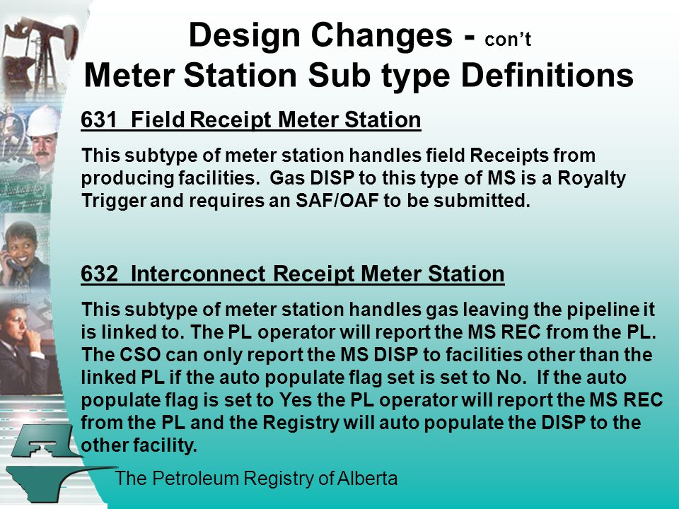 The Petroleum Registry of Alberta Design Changes - cont Meter Station Sub type Definitions 631 Field Receipt Meter Station This subtype of meter station handles field Receipts from producing facilities.