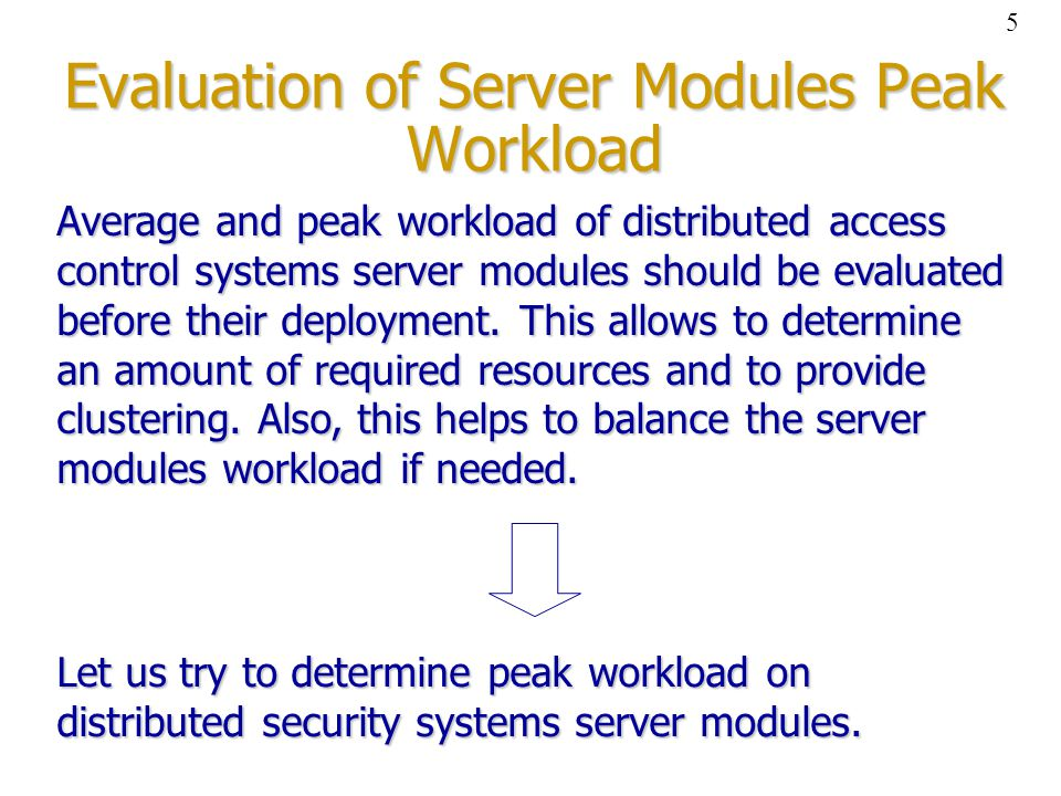 Peak workload of distributed access control systems where: – a number of access control boards; each of them authenticates a user times a day in average; N C – a number of access control boards; each of them authenticates a user N A times a day in average; – an average number of time units required to process one authentication request; T A – an average number of time units required to process one authentication request; – average resources of the server needed while authentication request processing per time unit; P A – average resources of the server needed while authentication request processing per time unit; – the number of time units per a day.