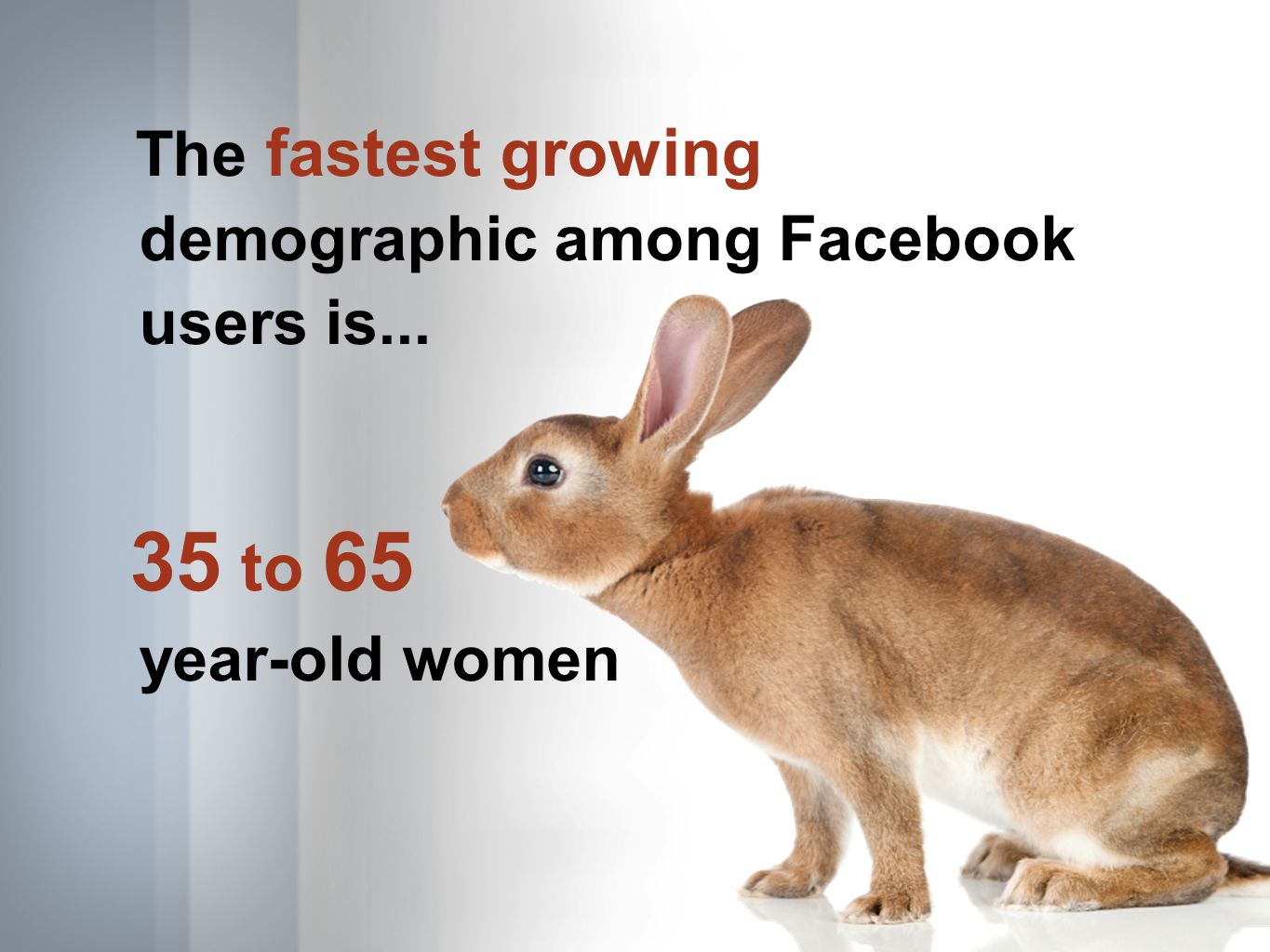 The fastest growing demographic among Facebook users is... 35 to 65 year-old women