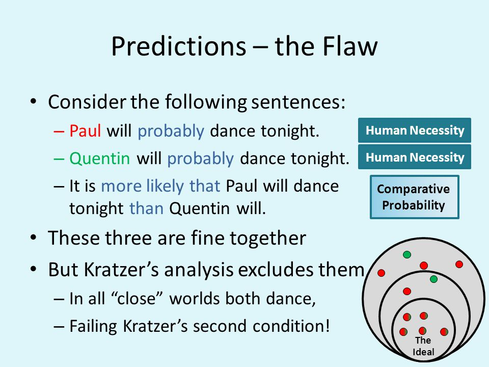 Predictions – the Flaw Consider the following sentences: – Paul will probably dance tonight. – Quentin will probably dance tonight. – It is more likel