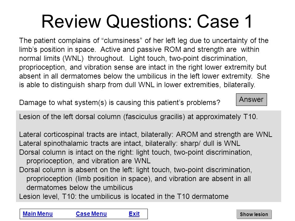 Case Instructions These patient cases are intended to facilitate the integration and clinical application of information about lesions of the spinal c