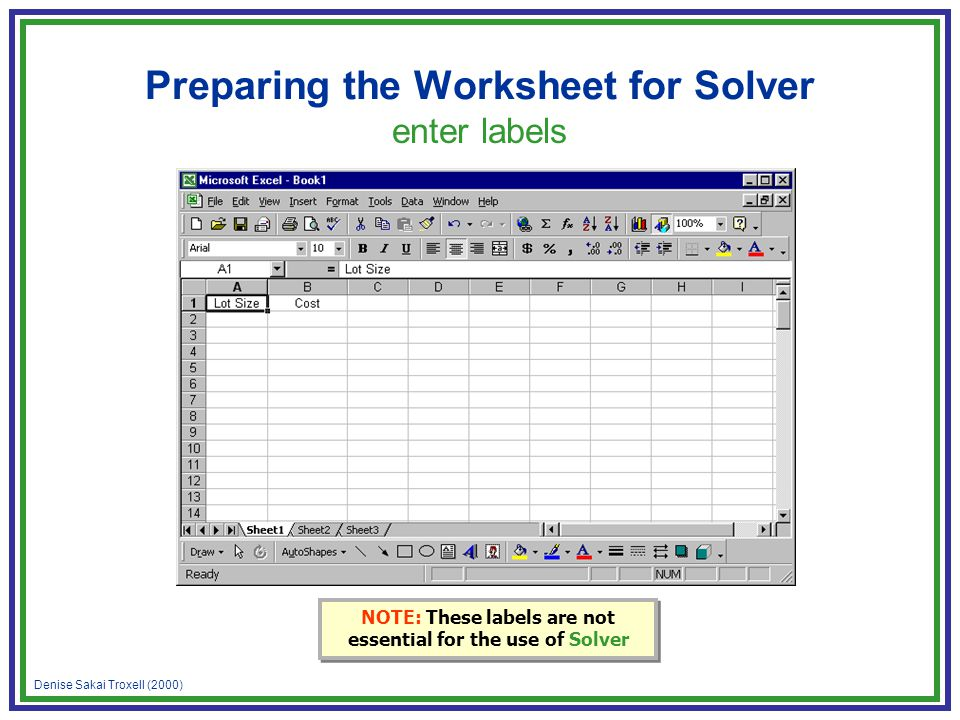 Denise Sakai Troxell (2000) Preparing the Worksheet for Solver enter labels NOTE: These labels are not essential for the use of Solver