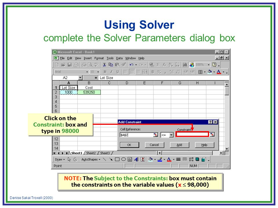 Denise Sakai Troxell (2000) Using Solver complete the Solver Parameters dialog box NOTE: The Subject to the Constraints: box must contain the constrai