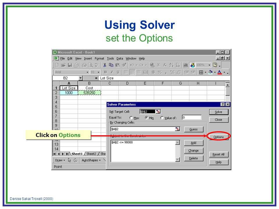 Denise Sakai Troxell (2000) Using Solver set the Options Click on Options