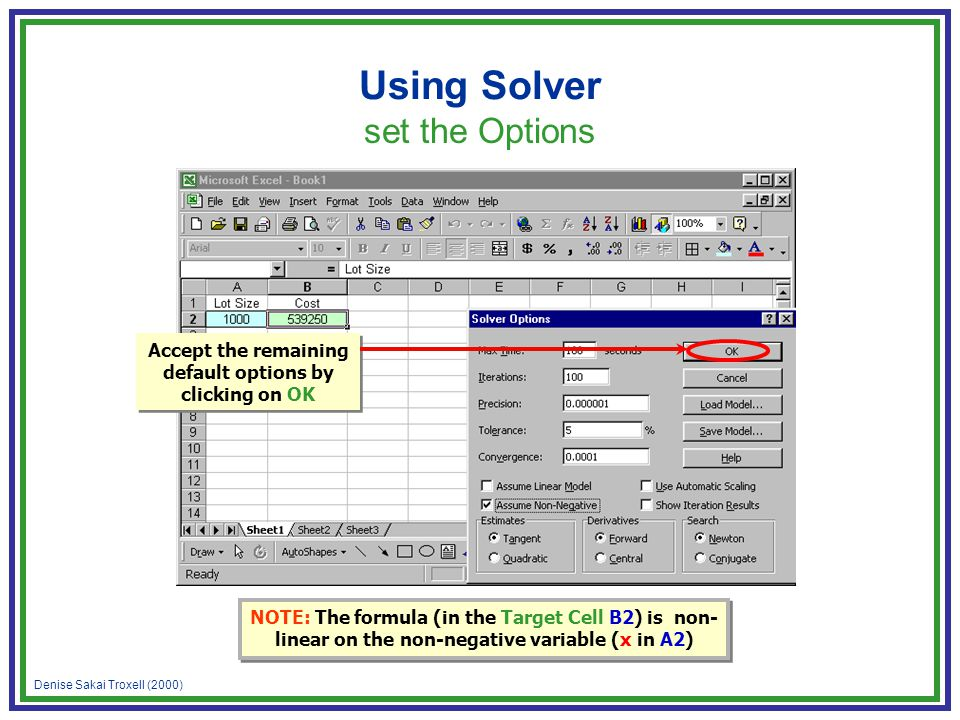 Denise Sakai Troxell (2000) Using Solver set the Options Accept the remaining default options by clicking on OK NOTE: The formula (in the Target Cell