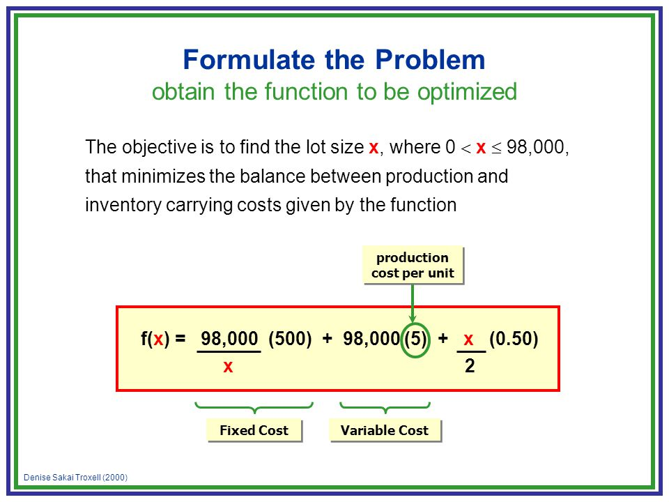 Denise Sakai Troxell (2000) Formulate the Problem obtain the function to be optimized f(x) = 98,000 (500) + 98,000 (5) + x (0.50) x 2 Fixed Cost produ
