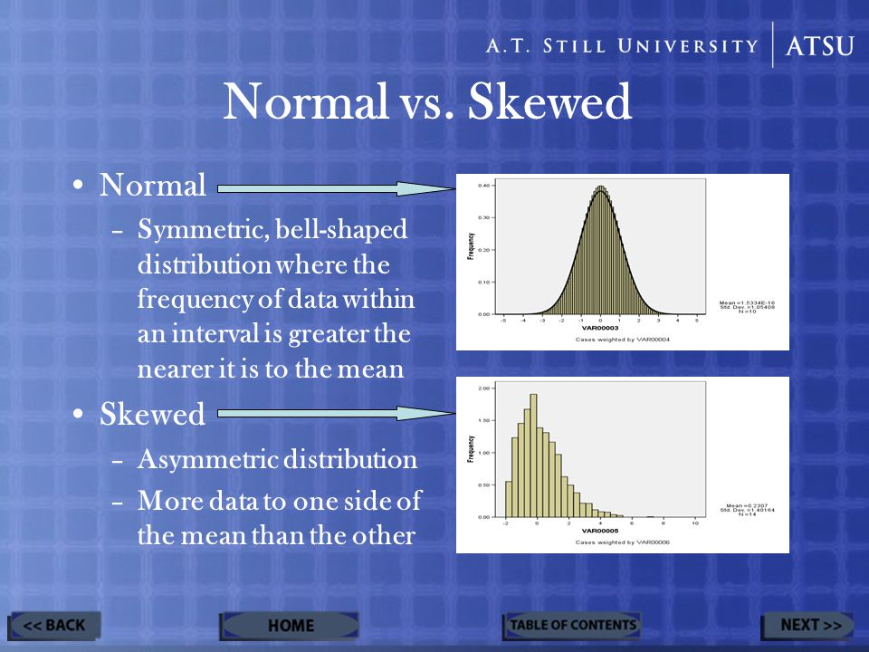 Normal vs. Skewed Normal –Symmetric, bell-shaped distribution where the frequency of data within an interval is greater the nearer it is to the mean S