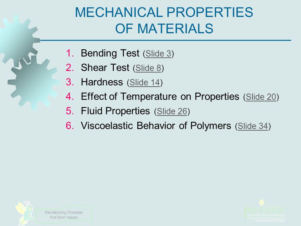 Manufacturing Processes Prof Simin Nasseri MECHANICAL PROPERTIES OF MATERIALS 1.Bending Test (Slide 3)Slide 3 2.Shear Test (Slide 8)Slide 8 3.Hardness
