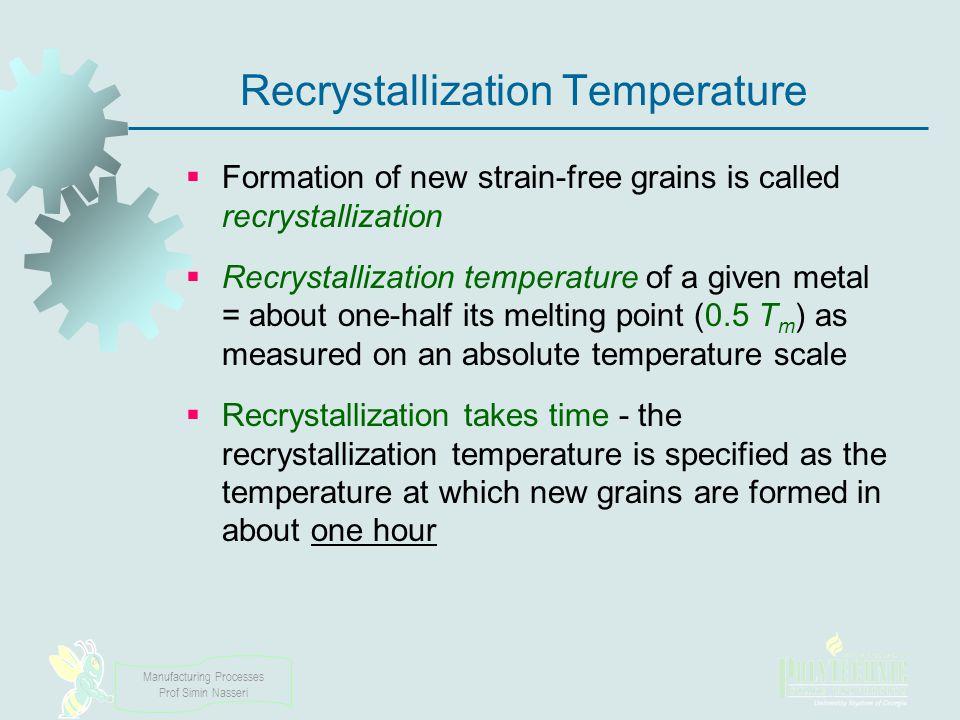 Manufacturing Processes Prof Simin Nasseri Recrystallization Temperature Formation of new strain free grains is called recrystallization Recrystalliza