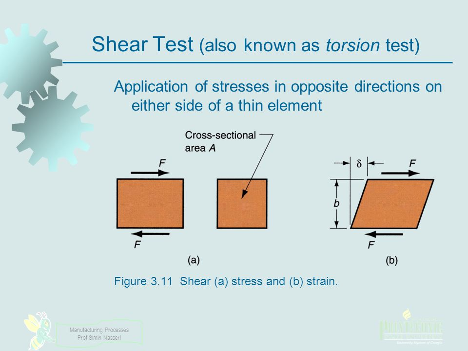 Manufacturing Processes Prof Simin Nasseri Shear Test (also known as torsion test) Application of stresses in opposite directions on either side of a