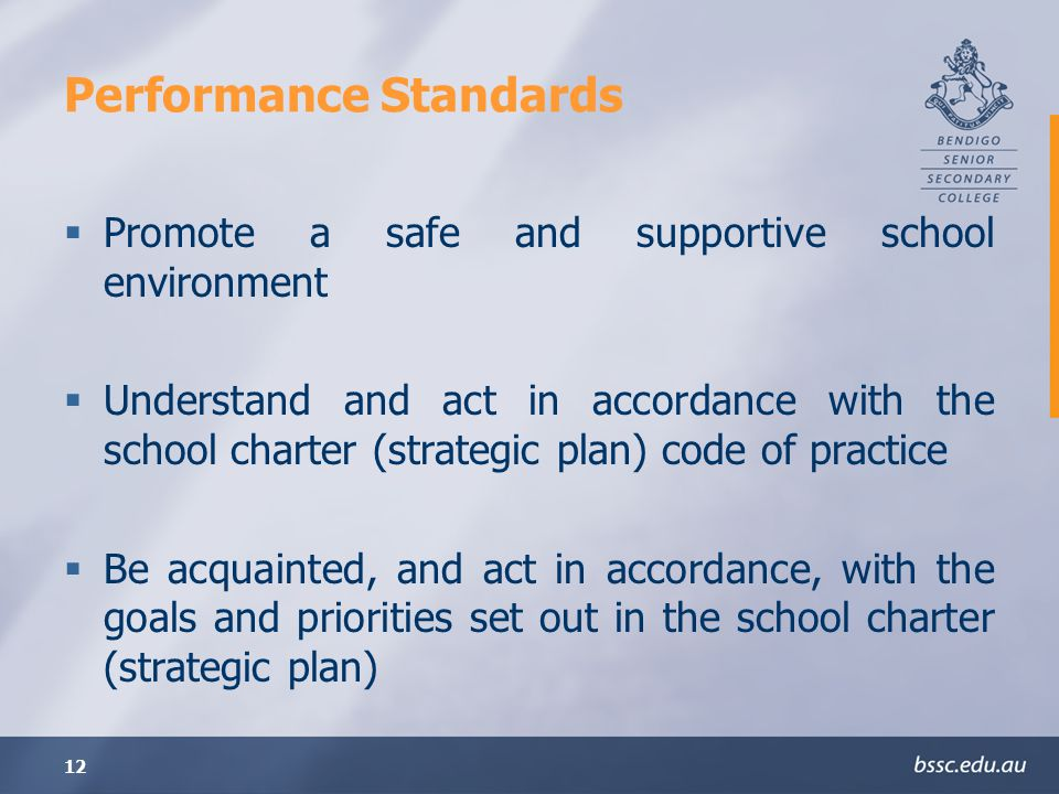 12 Performance Standards Promote a safe and supportive school environment Understand and act in accordance with the school charter (strategic plan) code of practice Be acquainted, and act in accordance, with the goals and priorities set out in the school charter (strategic plan)