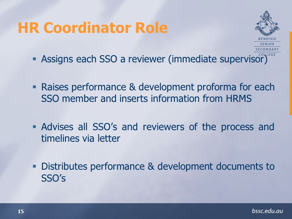15 HR Coordinator Role Assigns each SSO a reviewer (immediate supervisor) Raises performance & development proforma for each SSO member and inserts information from HRMS Advises all SSOs and reviewers of the process and timelines via letter Distributes performance & development documents to SSOs
