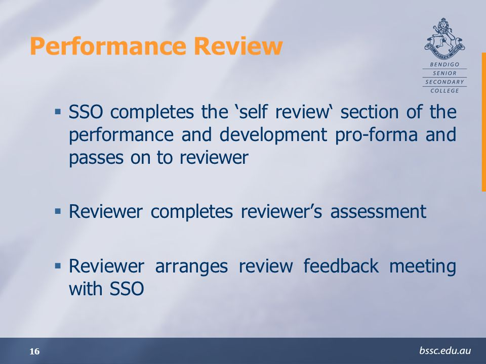 16 Performance Review SSO completes the self review section of the performance and development pro-forma and passes on to reviewer Reviewer completes reviewers assessment Reviewer arranges review feedback meeting with SSO