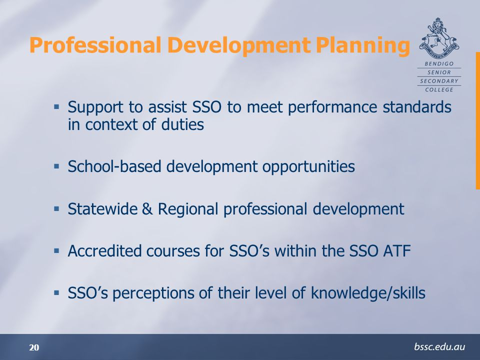 20 Professional Development Planning Support to assist SSO to meet performance standards in context of duties School-based development opportunities Statewide & Regional professional development Accredited courses for SSOs within the SSO ATF SSOs perceptions of their level of knowledge/skills