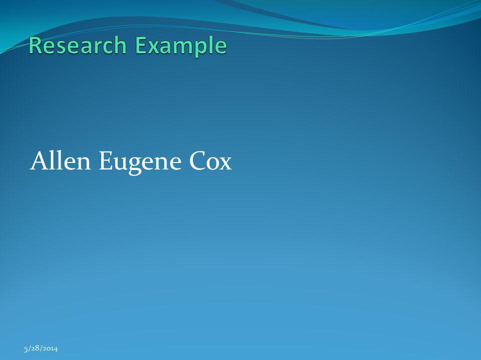 Allen Eugene Cox 5/28/2014
