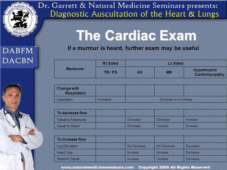 The Cardiac Exam Maneuver Rt SidedLt Sided TR / PSASMR Hypertrophic Cardiomyopathy Change with Respiration Inspiration IncreasedDecrease or no change